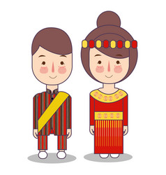 South sulawesi province wedding couple cute vector