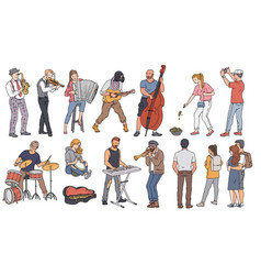 Street musician characters play music set of vector