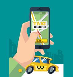 Taxi order urban transportation hand holding vector