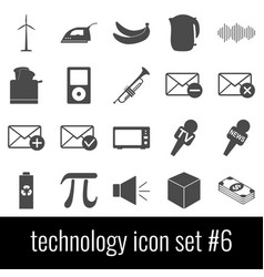 technology icon set 6 gray icons on white vector image