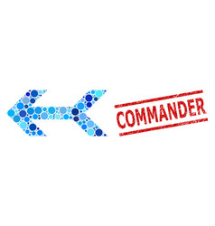 textured commander stamp seal and arrow left vector image