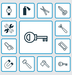 Tools icons set collection of timer gasoline vector