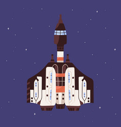 top view spaceship flying in outer space vector image