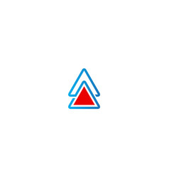 triangle arrow up sign business logo vector image