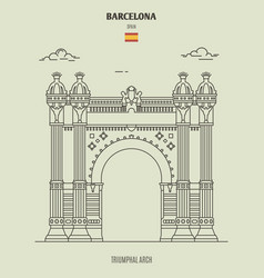 triumphal arch in barcelona spain vector image