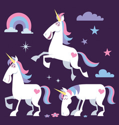 Unicorn cartoon set 2 vector