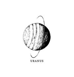 Uranus planet image on white background hand vector