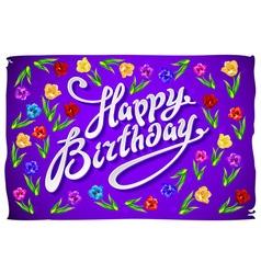 Violet greeting card Happy Birthday tulip vector