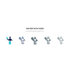 Waiter with food tray icon in different style vector