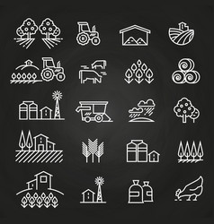 White farm icons and concepts on blackboard vector