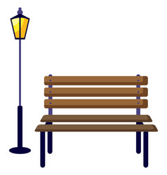 Wooden bench and outdoors lantern light vector
