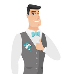 Young caucasian groom giving thumb up vector