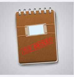 a notebook with a warning sign vector image