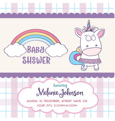 beautiful baby shower card template with lovely vector image