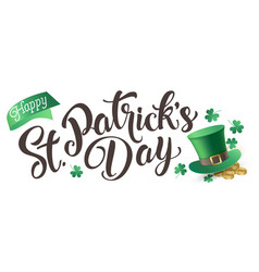 happy st patrick s day isolated on a white vector image vector image
