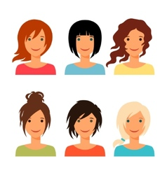 Set of beautiful young girls with various hair vector image