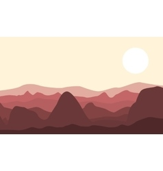 Silhouette of desert and rock landscape vector image vector image