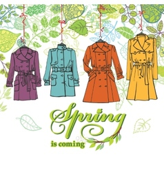Spring Fashion Woman coats setLeaves decor vector image vector image
