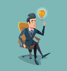 successful businessman get the idea light bulb vector image vector image
