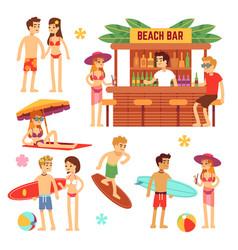 sunbathing young people on beach fun couple on vector image