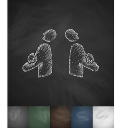 two businessmen icon Hand drawn vector image