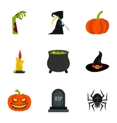 All saints day icons set flat style vector