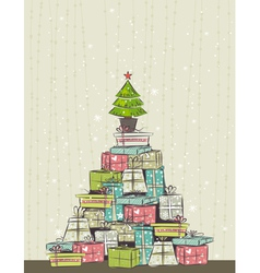color background with christmas present and one tr vector image