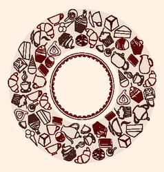 Desserts Round Background - vector image