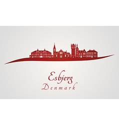Esbjerg skyline in red and gray background in vector image vector image