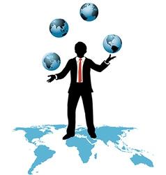Global business man juggles business worlds vector image vector image
