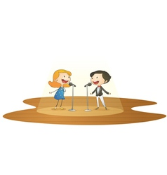 kids and mic vector image vector image