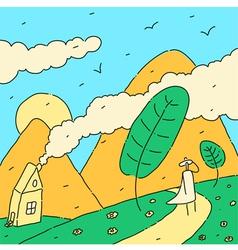 Landscape and traveler vector image