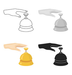 reception bell icon in cartoon style isolated on vector image