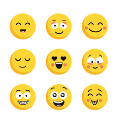 set of happy yellow emoticons funny cartoon flat vector image