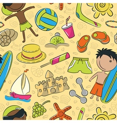 Summer beach pattern vector image