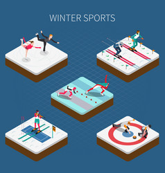 winter sports isometric composition vector image vector image
