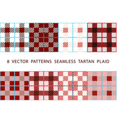 8 patterns seamless tartan plaid brown set vector image