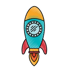 Colored crayon silhouette of space rocket vector