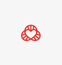 heart dna logotype lined love science vector image vector image