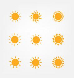 Orange Sun symbols set vector image