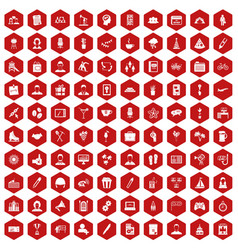 100 team building icons hexagon red vector image