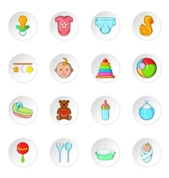 Baby care icons cartoon style vector image