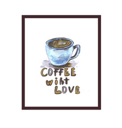 coffee love logo with hearth shape vector image vector image