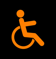 disabled sign orange icon on black vector image