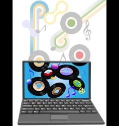 music to laptop computer vector image vector image