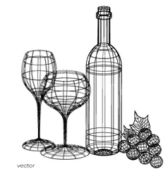 wine glass and wine bottle set of glasses vector image vector image