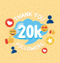 20k followers icons vector