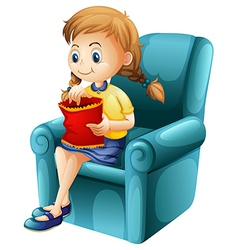 a girl eating junkfoods while sitting down vector image