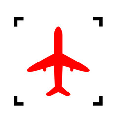 airplane sign red icon vector image