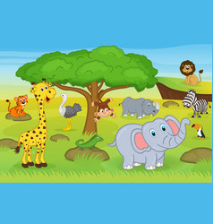animals in safari vector image